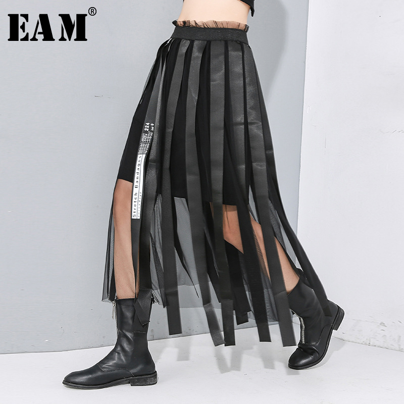 [EAM] High Elastic Waist Black Ribbon Split Mesh Temperament Half-body Skirt Women Fashion Tide New Spring Autumn 2020 1N192