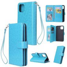 Долговечный и мягкий полиуритановый материал удобный ремешок с пряжкой дизайн с 9 позициями для карт Телефон чехол для IPhone 11