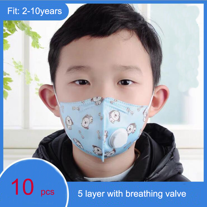Kids Face Protective Mask KN95 Children Disposable Laye Mask Respirator Cute Boy Girl Breathable Valve Mask For Kids 10pcs