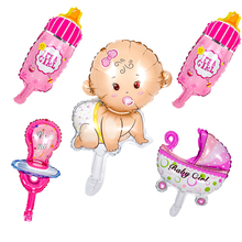 5pcs Mini Baby Shower Boys Girls Holiday Decorations Foil Balloons Stroller Helium Balls Birthday Party Supplies Air Globos Deco