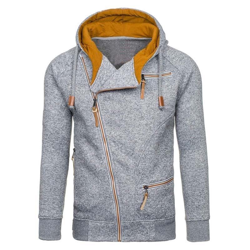 New Hoodie Men 2019 Spring Casual Solid Long Sleeve Mens Hoodies Sweatshirts Slim Zipper Hoody Sweatshirt Men Hooded Streetwear 5
