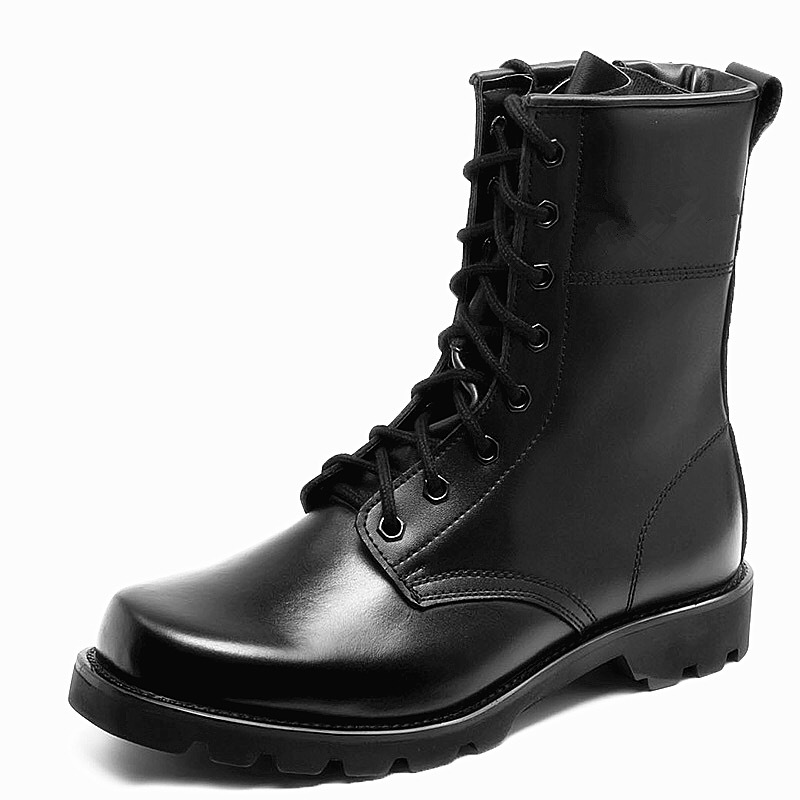Fashion Army black leather Boots Men Military Boots Tactical Combat Boots Waterproof Summer/Winter Desert Boots men shoes image