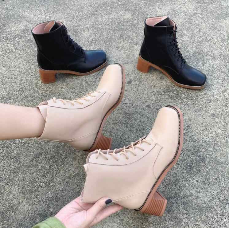 Ankle Boots Women Shoes Woman Boots Fashion Square Heel Square Toe PU Boots Booties 2019 Autumn New Comfortable Boots X400