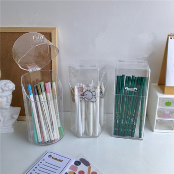Square Round Transparent Clear Acrylic Pen Holder Stand Makeup Brush Holder Organizer Container Storage Box Plastic Pencil Cup 3 size empty portable travel makeup brushes round pen holder cosmetic case pu leather cup brush holder tube storage organizer