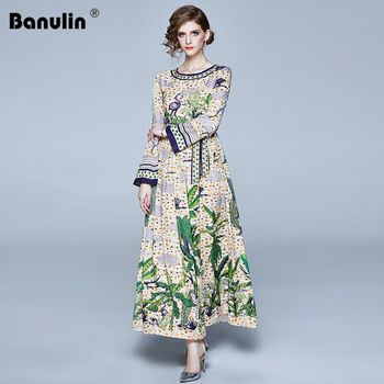 Banulin 2020 Spring New Fashion Long Maxi Runway Dress Women Long Flare Sleeve Elegant Bow Belt Floral Print Celebrate Dress banulin summer runway designer bow neck pleated dress women lace patchwork floral print elegant holiday midi dress vestidos