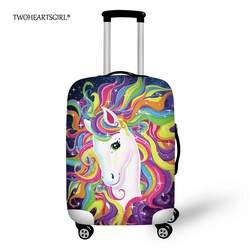 TWOHEARTSGIRL свежий Единорог толстый багажный Защитный чехол стрейч чемодан 3D печать дети тележка чехол для 18-30 дюймов