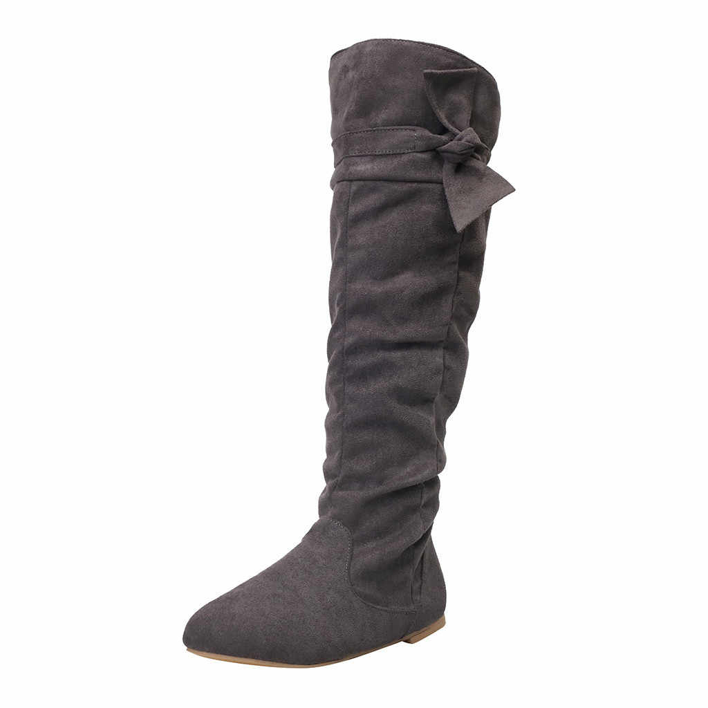 Women's Ladies Fashion Casual Beautiful Knotted Knee-high Long Boots Flat Flock Rubber Casual Shoes Ladies Boots Shoes 2019 NEW