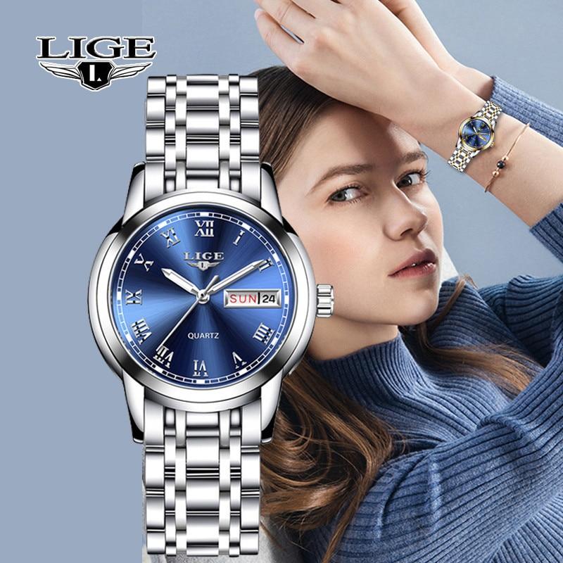 LIGE Fashion Watch Women Quartz Womens Watches Luxury Top Brand Date Week Stainless Steel Female Dress Clock relogio femininoWomens Watches   -