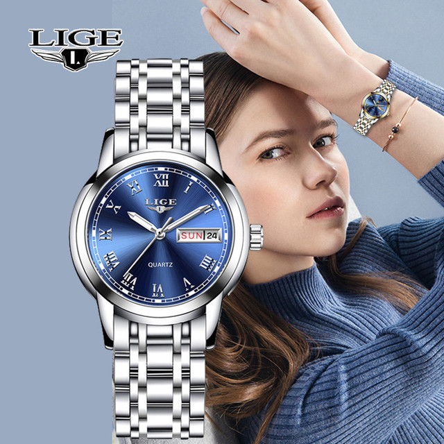 LIGE Fashion Watch Women Quartz Womens Watches Luxury Top Brand Date Week Stainless Steel Female Dress Clock relogio feminino