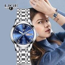 LIGE montre à Quartz pour femmes, style de luxe, Top marque, semaine de Date, en acier inoxydable, horloge en robe