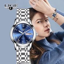 Lige relógio feminino quartzo, de luxo, marca de luxo, data, semana, aço inoxidável, vestimenta feminina