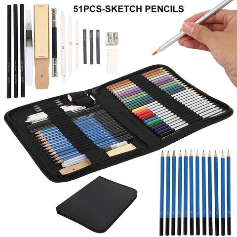 35 40 51 pcs lapis de chumbo de madeira esbocar desenho kit pintura da arte