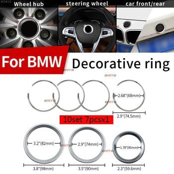 10set Aluminum Alloy Rings Sticker 82mm 74mm 68mm 45mm 7x Car Emblem Kit Decoration Rings For E60 E90 F10 F30 F15 E91 E92 E93