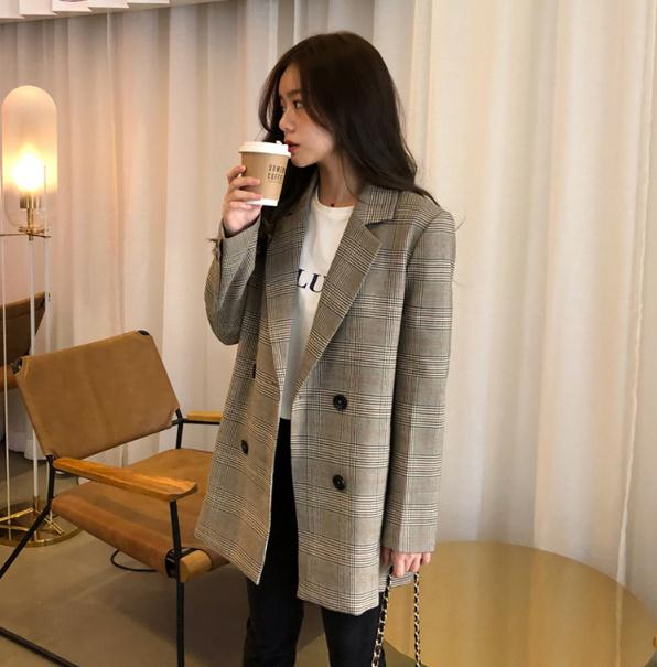 2020 Spring&all Office Ladies Notched Collar Plaid Women Blazer Double Breasted Autumn Jacket Casual Pockets Female Suits Coat
