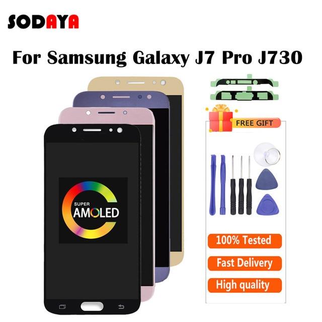 5.5 AMOLED Samsung Galaxy J7 2017 ekran J730 J730F J730M J730Y LCD ekran + dokunmatik ekran digitizer cam Panel J730 LCD