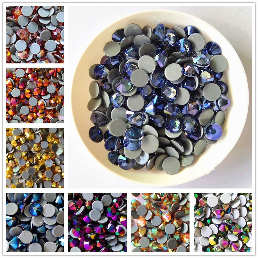AAAA+Quality New Violet/Metal Crystal Hotfix Rhinestones Glass Strass Iron On stone For Nail Art Sewing & Fabric Decoretion