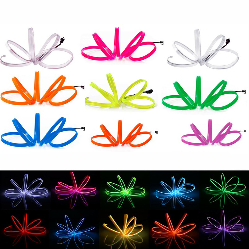 1M 2M Flexible Neon Light Glow LED EL Wire Rope tape Cable Strip waterproof LED Neon Lights Shoes Clothing Car Without Drive
