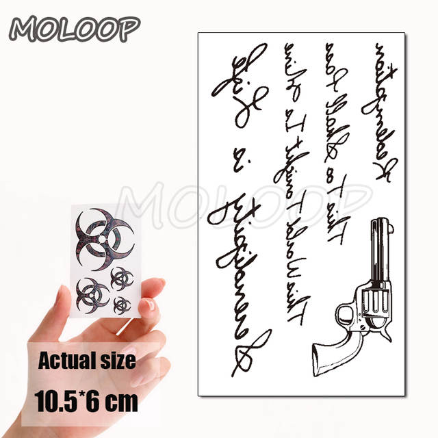Water Transfer Sexy Black Letter Pistol Tattoo Body Art Waterproof Temporary Fake Flash Tattoo For Man Woman Kid 10 5 6 Cm On Aliexpress
