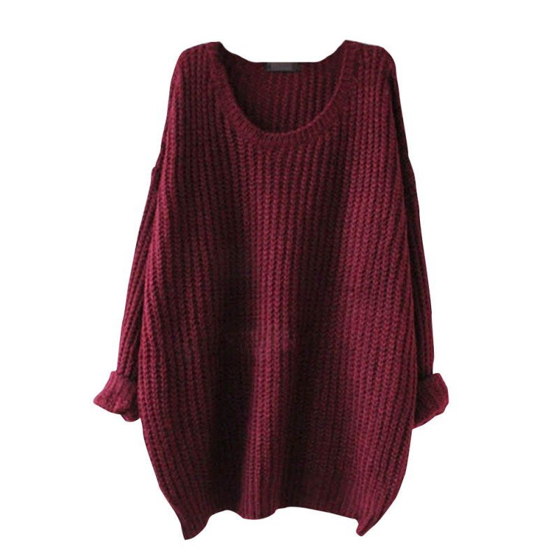 Loose Fashion Large Size Casual Slim Sweater Autumn Women O-Neck Long Sleeve Strapless Pullovers Sweater