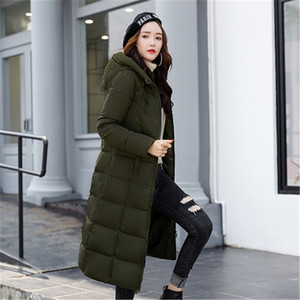 Image 4 - Autumn Winter Jacket Women Long Hooded Warm Overcoat Womens Down Jackets 2019 Fashion Plus Size 6XL Solid Color Parka Coat