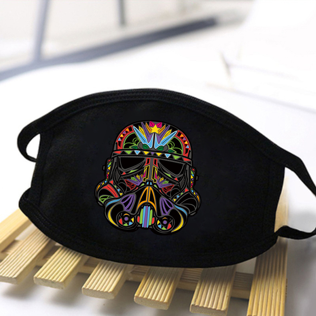 Fashion Star Wars Print Mask 2020 Washable Dustproof Mouth-Muffle Baby Yoda Mandalorian Unisex Black Casual Warm Kpop Masks 4
