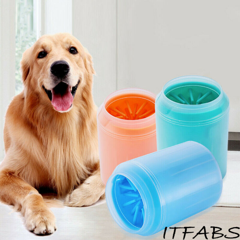 Portable font b Pet b font Foot Washer Cup Dog Paw Cleaner Cup Soft Silicone Combs