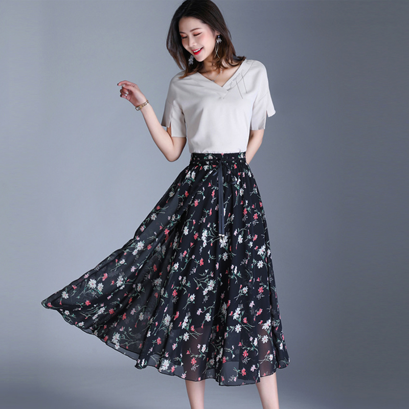 Women's Skirts Casual High Street Floral Pattern Lace Up Summer Skirts Vintage Belt Lady Leisure Clothes Decoltee Chiffon Skirts