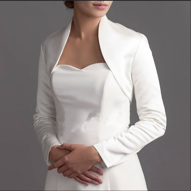 Full Long Sleeve Wedding Jacket Satin Bride Bolero Jackets For Bridal Party Coat Free Shipping Bridal Jacket Custom Made
