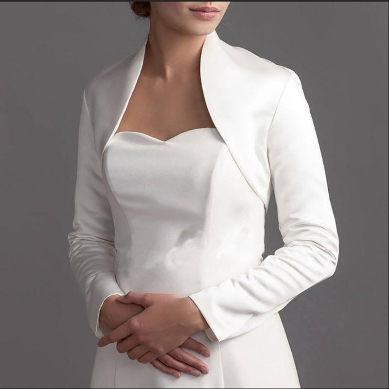 Full Long Sleeve Wedding Jacket Satin Bride Bolero Jackets For Bridal Party Coat Free Shipping Bridal Jacket Custom Made