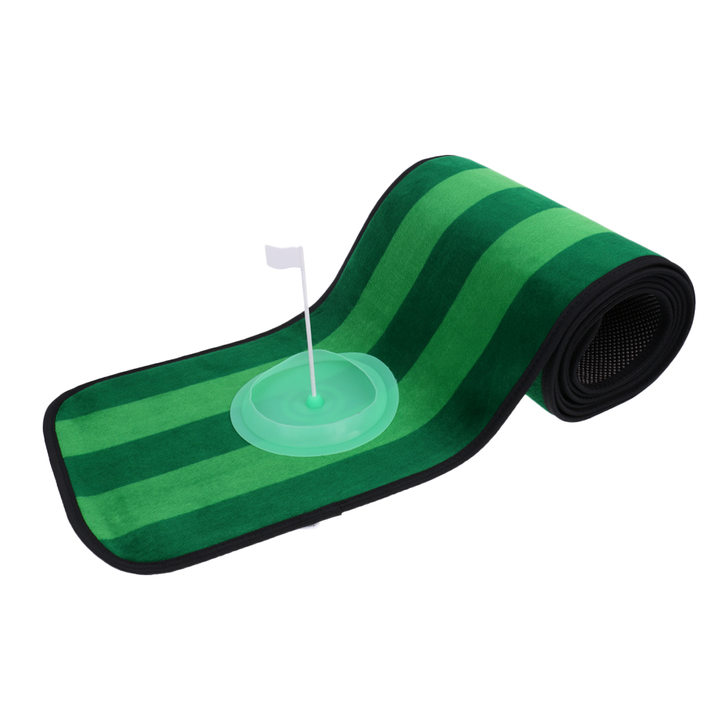 10' X 1' Non-slip Indoor Outdoor Practice Golf Putting Green Mat Golf Training Aid With Putting Cup And Storage Bag
