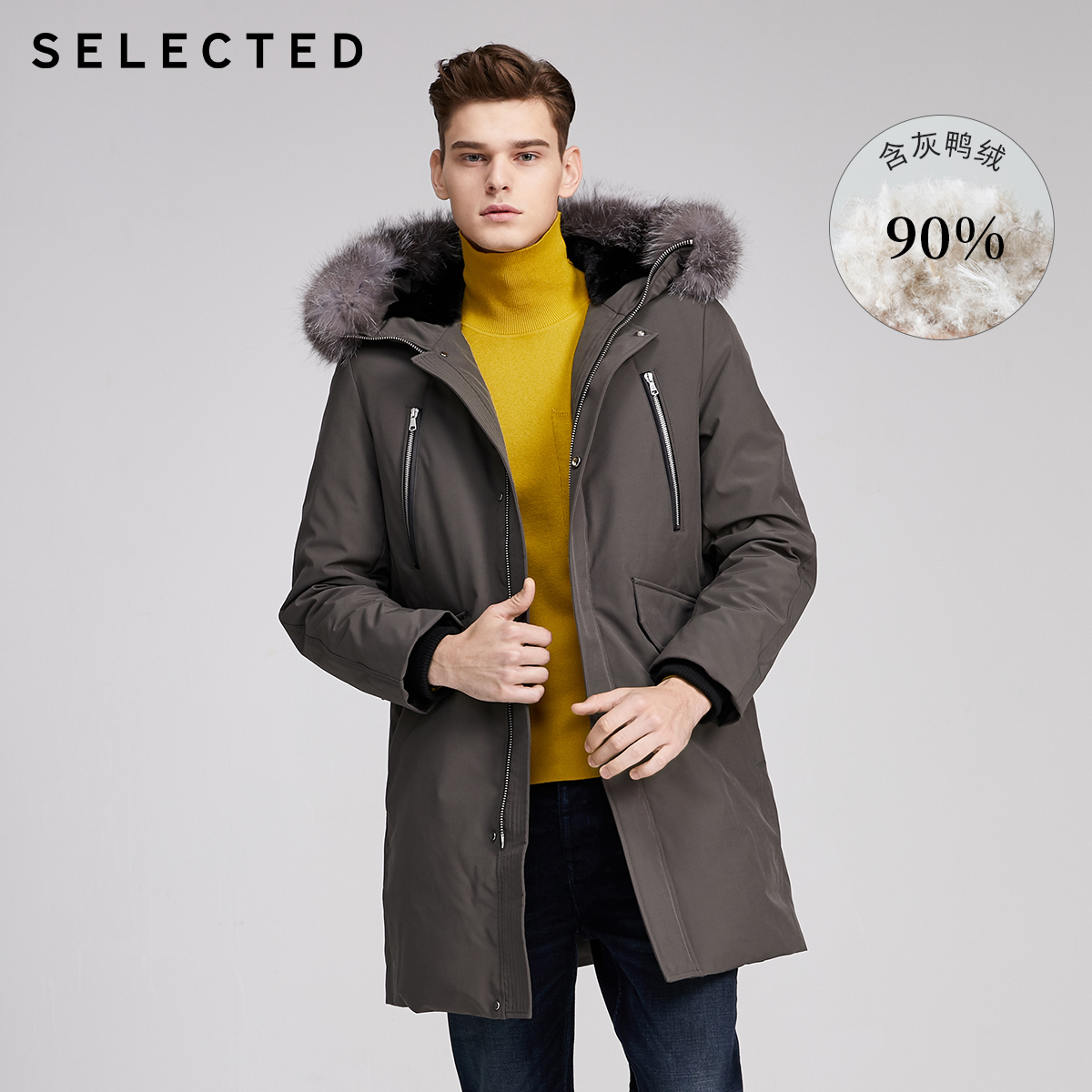 SELECTED Men's Mid-length Fox Fur Hooded Down Jacket S|419412578