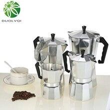 Duolvqi alumínio máquina de café durável moka cafeteira expresso percolador pote prático moka cafeteira 50/100/150/300/450/600ml