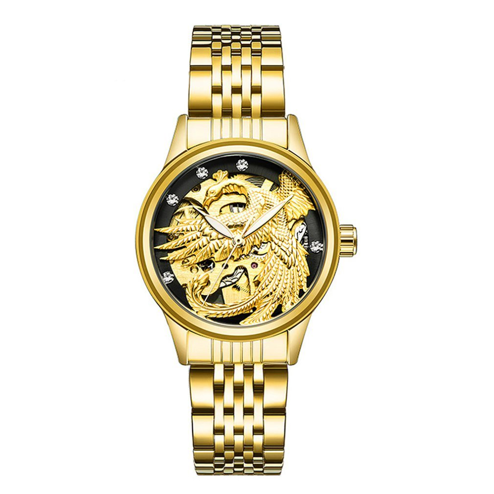 TEVISE Waterproof Automatic Mechanical Watch Ladies Dragon And Phoenix Couple Mechanical Luminous Watch