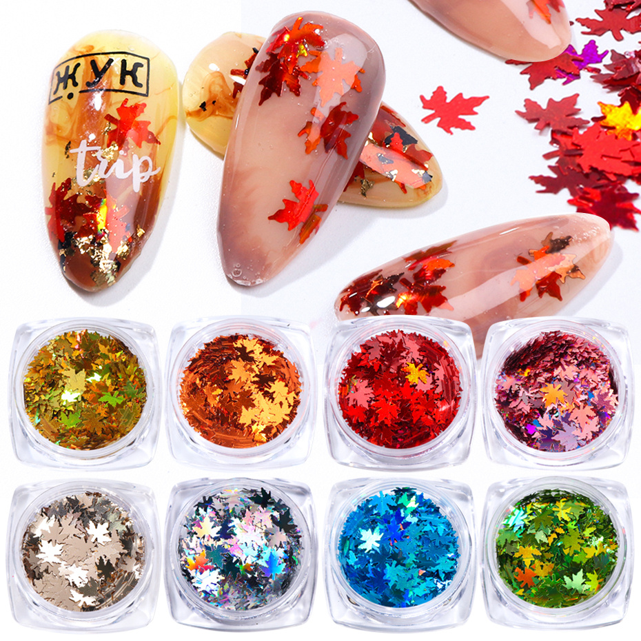 1Box Holographic Glitter Sequins Nail Art Maple Leaf Gold Red Laser Gradient Paillette Metallic Flake Nails Accessory BE1528