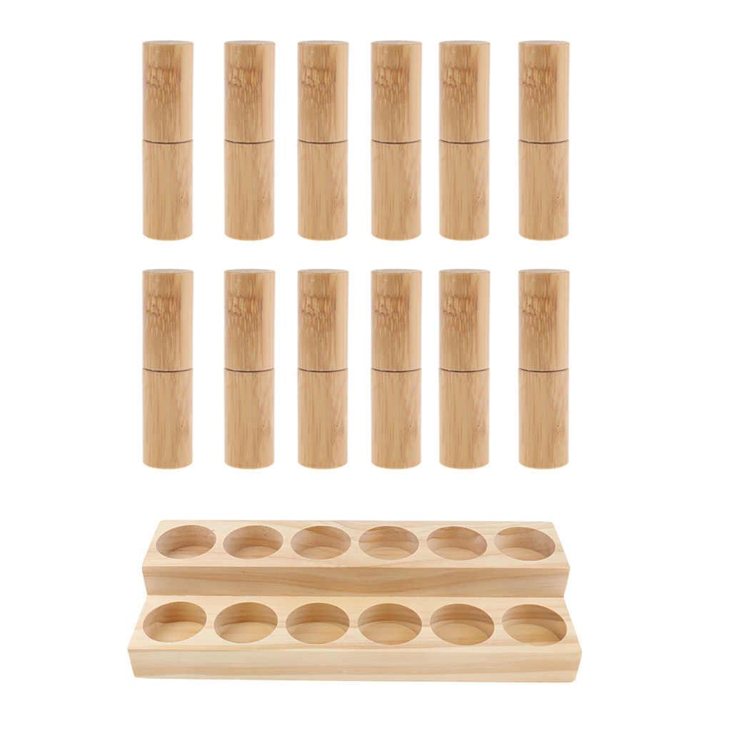 Naturalne drewno olejki eteryczne patera stojak Organizer do przechowywania stojak + 12 sztuk Bamboo butelki obrotowe