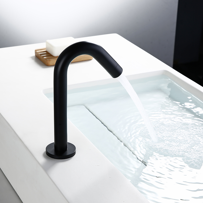 Bagnolux Black Deck Mount Induction Faucet Single Hole Only Cold Water Round Single Handle Brass Polish Kitchen Hotel Faucet
