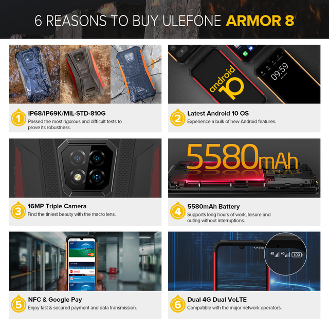 Ulefone Armor 8  Rugged Mobile Phone NFC Android 10 Helio P60 4GB+64GB 16MP Triple Camera Octa-core  6.1'' Waterproof Smartphone 3