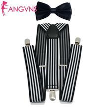 Men's Bow Tie Suspenders Set Adjustable Black White Boy Bowtie for Wedding Birthday Party
