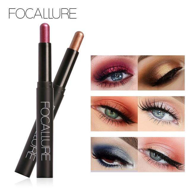 FOCALLURE Glitter Eyeshadow Pencil Metallic Shadow Eye Makeup Cosmetics Easy to Wear Eye Shadow Stick 2
