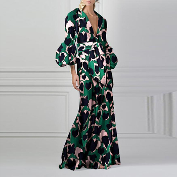 Vintage Floral Print Boho Maxi Dress Summer Women Lantern Sleeve V Neck Beach Dress Long Casual Elegant Plus Size Party Dress summer floral print chiffon beach long dress women sexy deep v neck party dress short sleeve casual boho bandage dress cuerly