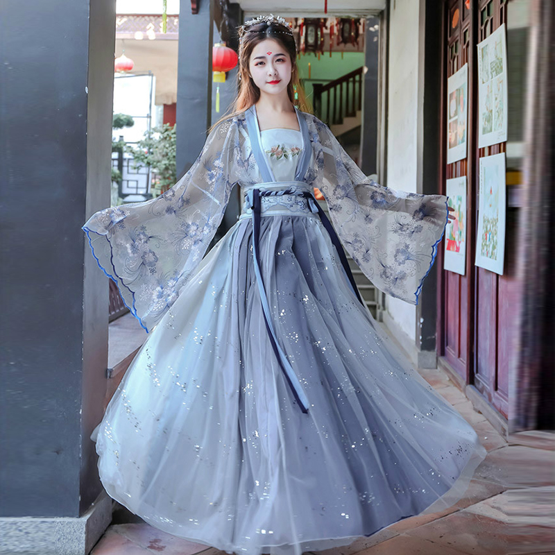 Kadın Hanfu çin geleneksel halk kostüm kız Han hanedanı dans giyim bayan peri Cosplay giysi oryantal antik prens takım elbise