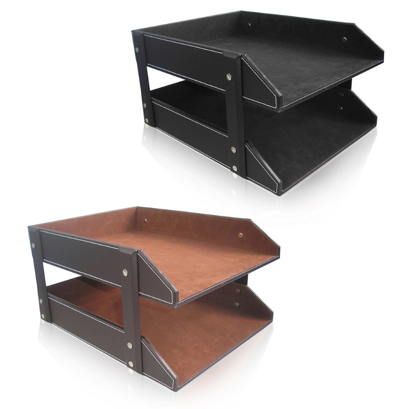A4 Document File Organizer Tray Double Layers Desk PU Leather Paper Holder Magazine Rack Storage Holder for Home School