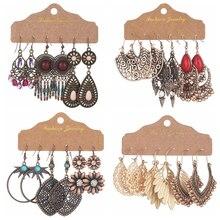 Ethnic Style Vintage Dangle Earrings Set For Women 2020 Bohemian Temperament Handmade Tassel Statement Earrings Indian Jewelry