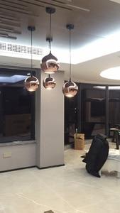 Image 5 - Zaktualizowane szkło lustrzane wiszące lampa w kształcie kuli miedziane złote srebrne Loft kuchnia wyspa stół wisząca lampa szklana kula zawieszenie
