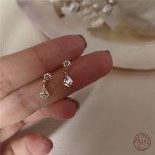 Boucles d'oreilles en argent Sterling S925 pour femmes, bijoux en or véritable 14k, en forme de goutte d'eau, de luxe