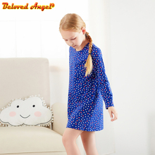 Autumn Winter Girl Dress Cotton Long Sleeve Children Dresses for Party Wedding Dot Kids Dresses for Girls Fashion Girls Clothing preppy style dot teenage girl dress 2018 autumn winter long cotton ruffles kids dresses long sleeve children dress baby clothing