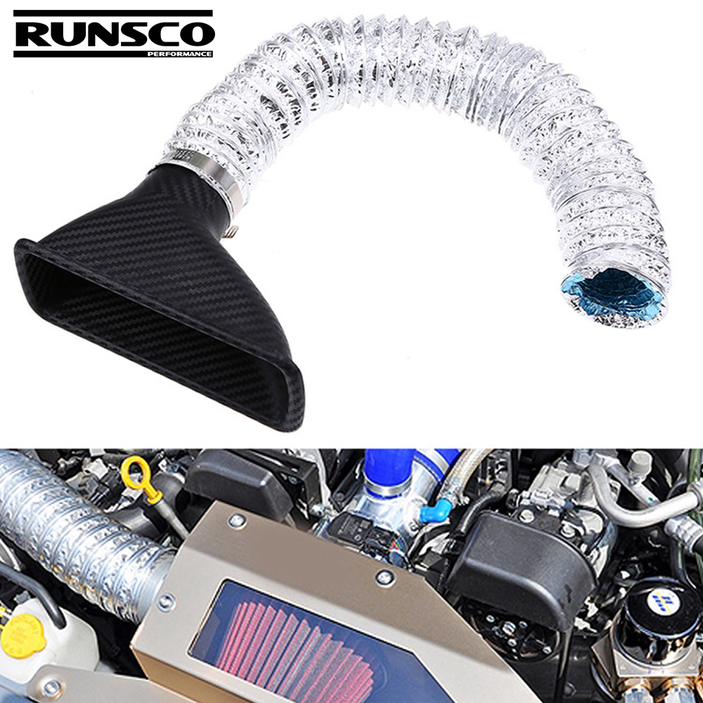 Round Universal Car Air Intake Turbo Car Modified Front Bumper Air Intake Turbo Turbine Inlet Pipe Funnel Kit