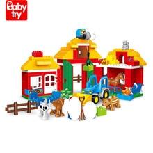лучшая цена 123Pcs Pretend Play Juguetes Birthday Gift Compatible Education Toys Big Farm Truck Figures Building Duplo Blocks for Boys Kids