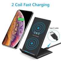 10/15W Portable Vertical Double Coil Wireless Charger with LED Indicator Fast Charge for Qi Standard Smart Mobile Phone