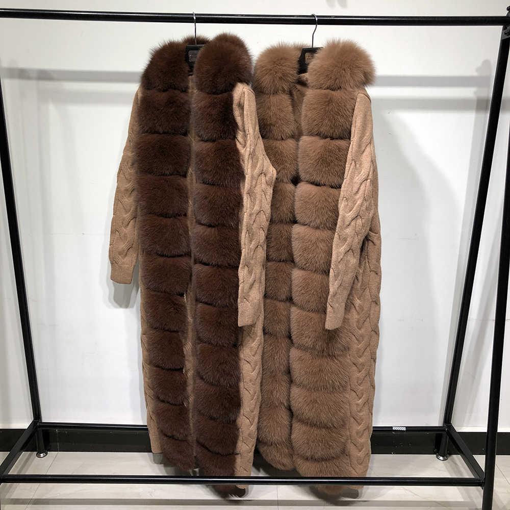 YOLOAgain kadınlar X uzun tilki kürk hırka kazak kapüşonlu bayanlar gerçek tilki kürk